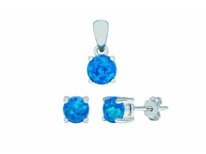 Stříbrná sada opál KLM-královská modrá  Rhodiované stříbro Ag 925/1000 s opálem, stříbrný řetízek a krabička zdarma
