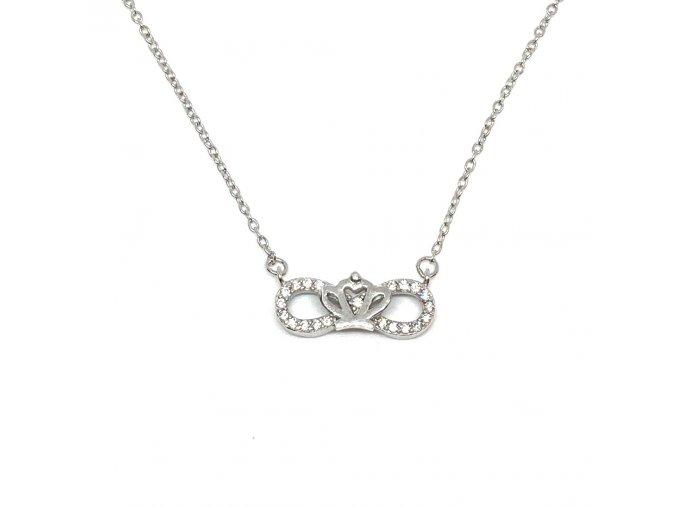 Stříbrný náhrdelník nekonečno - korunka  Rhodiované stříbro 925/1000, dárkově zabaleno