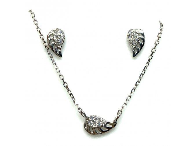 Stříbrná sada andělská křídla  Rhodiované stříbro 925/1000, dárkově zabaleno