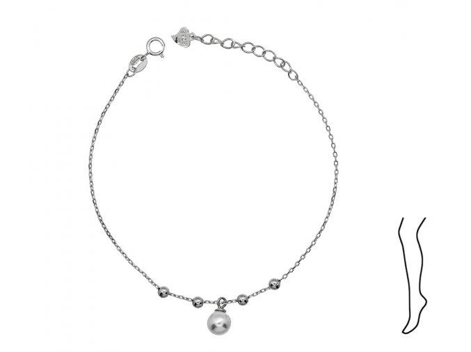 Stříbrný řetízek na nohu s perličkou  Rhodiované stříbro Ag 925/1000, dárkově zabaleno