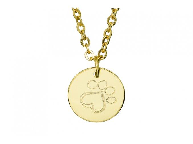 Malý medailonek srdíčková tlapka- barevné varianty  chirurgická ocel, dárkově zabaleno