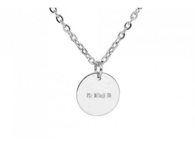 Malý medailonek s rytinou velké iniciály na přání  chirurgická ocel, dárkově zabaleno