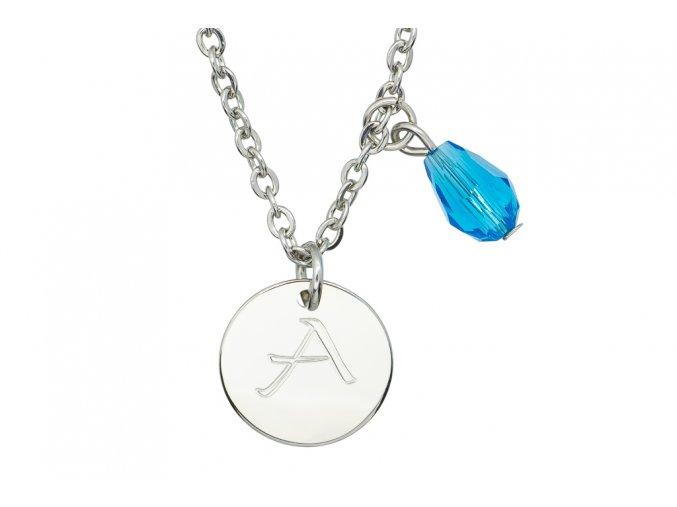 Malý medailonek s rytinou velké iniciály na přání a přívěškem  chirurgická ocel, dárkově zabaleno