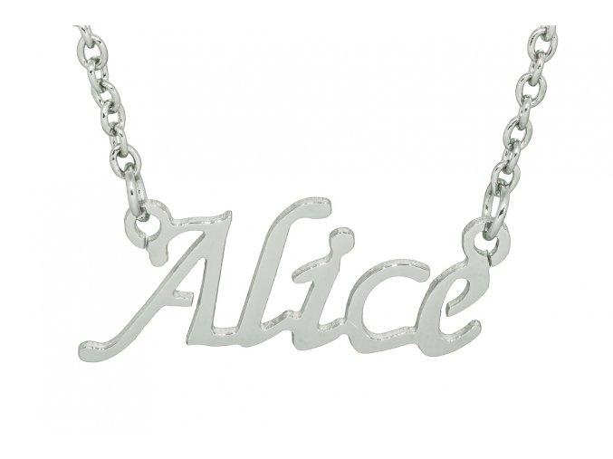 Řetízek se jménem - Alice  chirurgická ocel, dárkově zabaleno