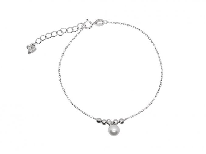 Stříbrný náramek s perličkou  Rhodiované stříbro Ag 925/1000, dárkově zabaleno