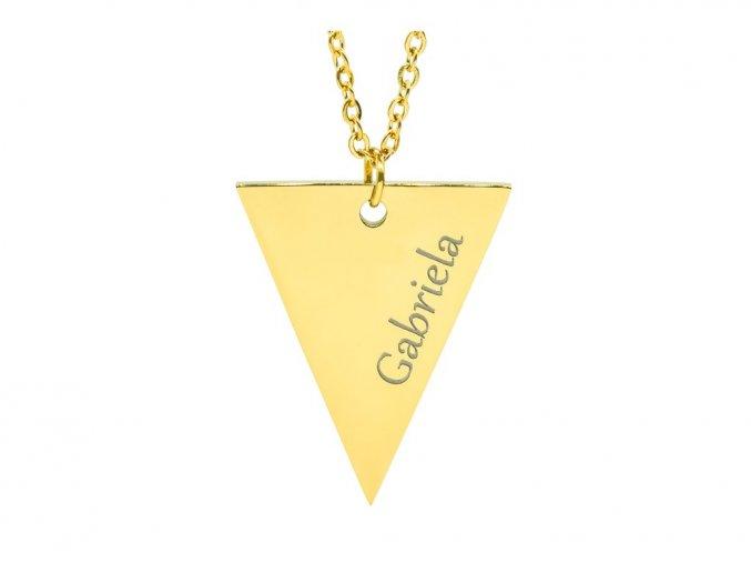 Medailonek trojúhelník s TEXTEM na přání - barevné varianty  chirurgická ocel, dárkově zabaleno