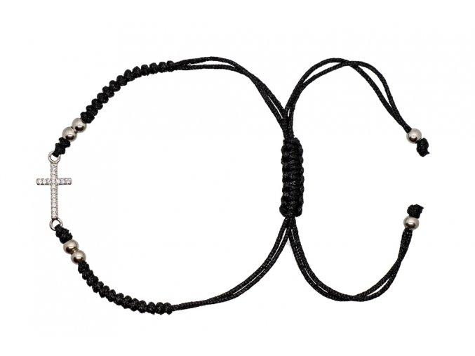 Stříbrný náramek- křížek (barevné varianty)  Rhodiované stříbro Ag 925/1000, dárkově zabaleno