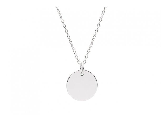 Malý stříbrný medailon s řetízkem a TEXTEM/INICIÁLOU na přání  Rhodiované stříbro Ag 925/1000, dárkově zabaleno