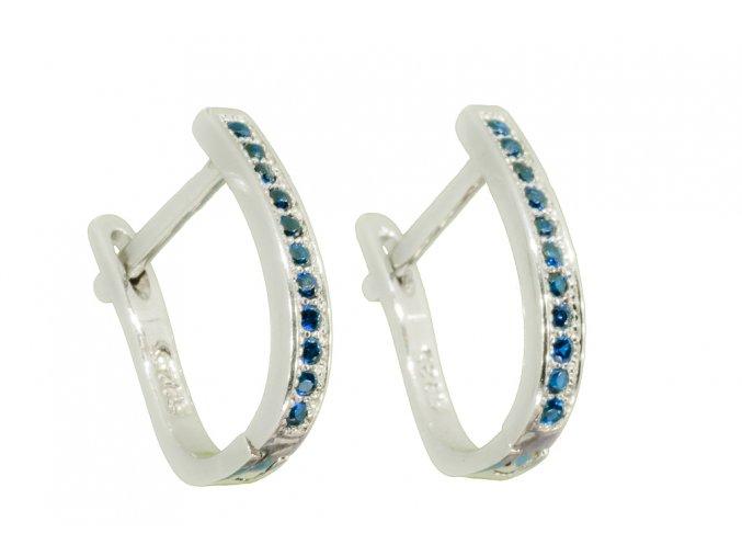 Stříbrné náušnice safírově modré  Rhodiované stříbro Ag 925/1000, dárkově zabaleno