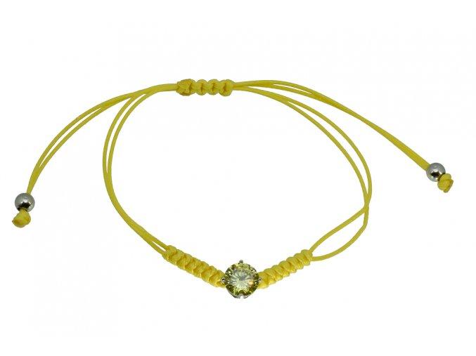 Provázkový náramek žlutý Ag - kulatý zirkon I  Rhodiované stříbro Ag 925/1000, dárkově zabaleno