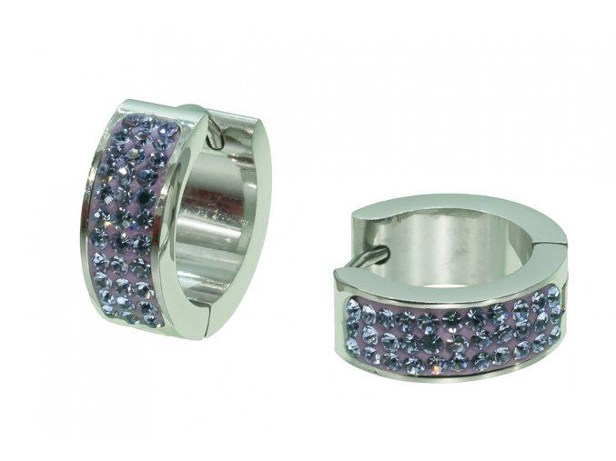 Náušnice kroužky - fialové  dárkově zabaleno
