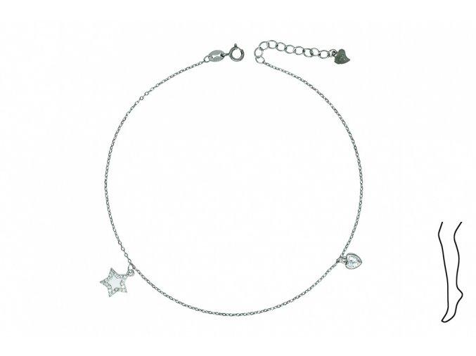 Řetízek na nohu - srdce a hvězda  Rhodiované stříbro Ag 925/1000, dárkově zabaleno