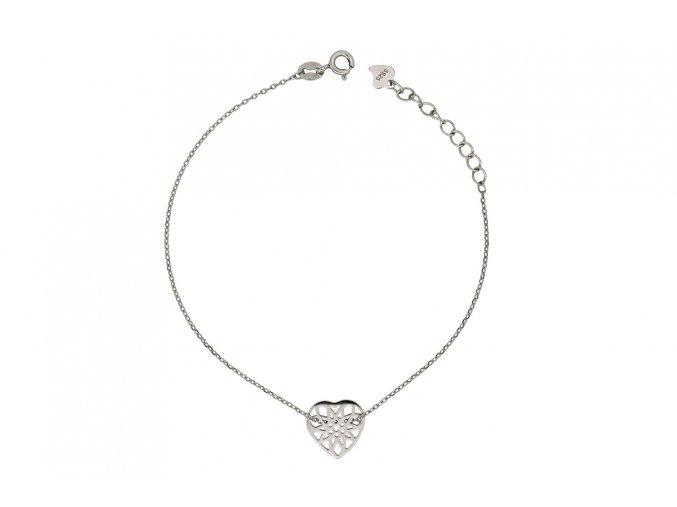 Stříbrný náramek - srdce  Rhodiované stříbro Ag 925/1000, dárkově zabaleno