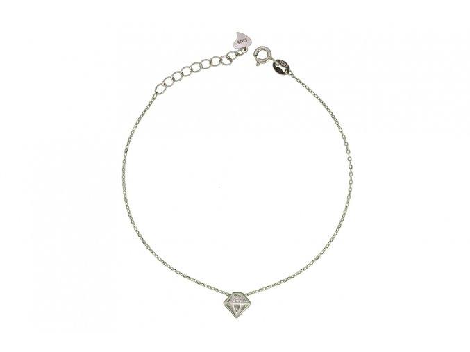 Stříbrný náramek - diamant  Rhodiované stříbro Ag 925/1000, dárkově zabaleno