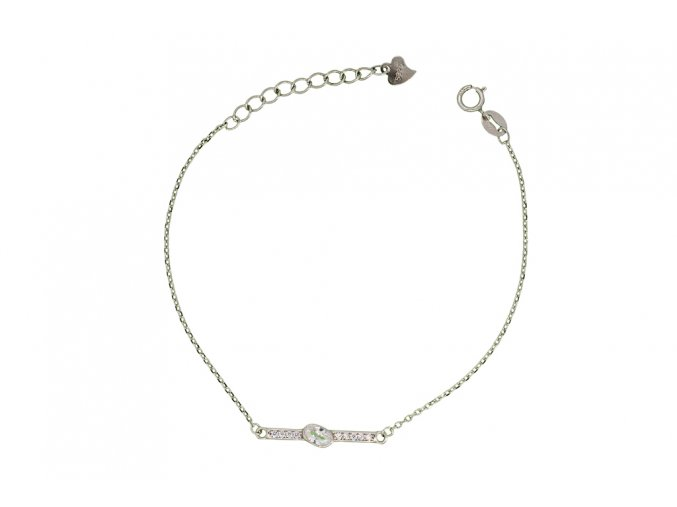 Stříbrný náramek - kamínkový  Rhodiované stříbro Ag 925/1000, dárkově zabaleno