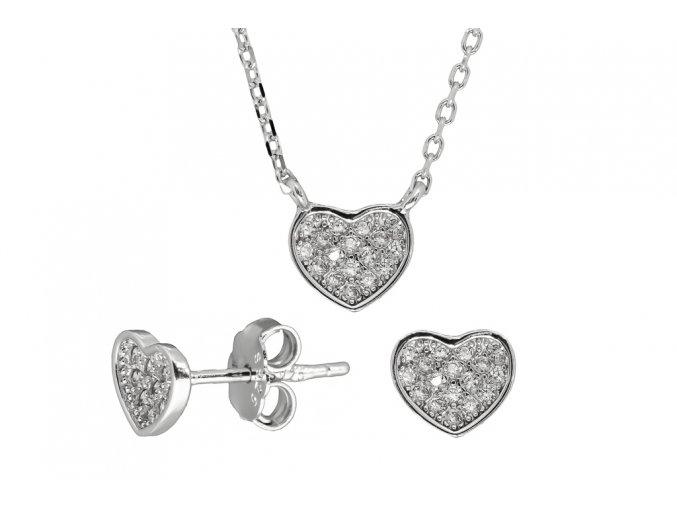 Stříbrná sada srdce SSN05  Rhodiované stříbro Ag 925/1000, krabička zdarma