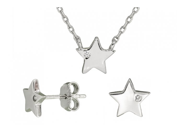 Stříbrná sada hvězda SSN08  Rhodiované stříbro 925/1000, dárkově zabaleno