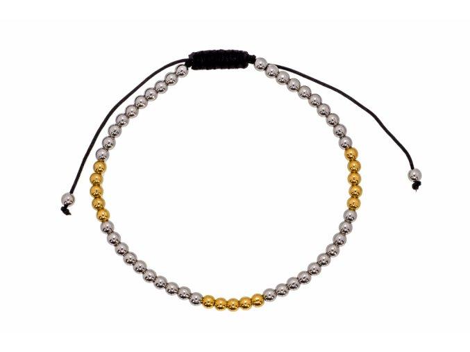 Ocelový náramek kuličkový-gold  chirurgická ocel, dárkově zabaleno