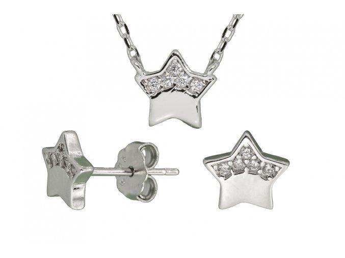 Stříbrná sada hvězda s bílými kamínky  Rhodiované stříbro 925/1000, dárkově zabaleno