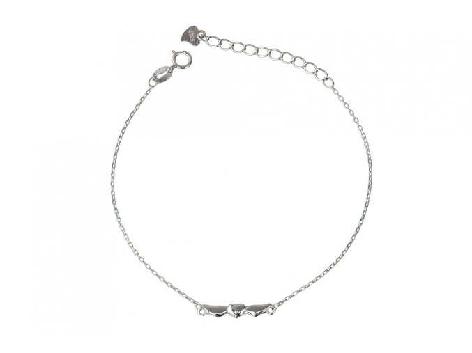 Stříbrný náramek andělské srdce  Rhodiované stříbro Ag 925/1000, dárkově zabaleno
