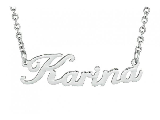 Řetízek se jménem - Karina  dárkově zabaleno