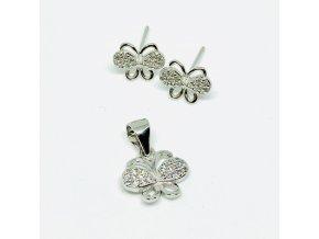 Stříbrná sada motýli  Stříbro Ag 925/1000, dárkově zabaleno