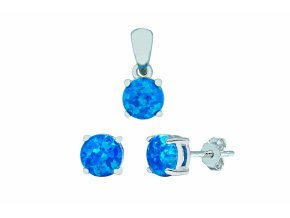 Stříbrná sada opál KL-královská modrá  Rhodiované stříbro Ag 925/1000 s opálem, stříbrný řetízek a krabička zdarma