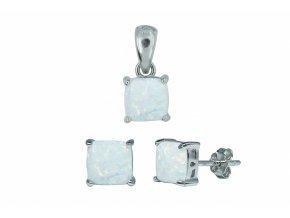 Stříbrná sada opál HR-bílá  Rhodiované stříbro Ag 925/1000 s opálem, stříbrný řetízek a krabička zdarma