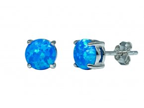 Stříbrné náušnice opál KL- královská modrá  Rhodiované stříbro Ag 925/1000 s opálem