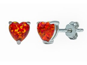 Stříbrné náušnice opálové srdce - červená ruby  Rhodiované stříbro Ag 925/1000 s opálem