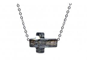 Náhrdelník swarovski křížek crystal silvernight  chirurgická ocel, swarovski el., dárkově zabaleno
