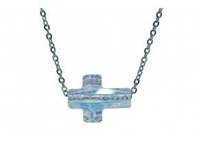 Náhrdelník swarovski křížek crystal AB  chirurgická ocel, swarovski el., dárkově zabaleno