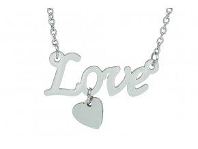Řetízek s Love a srdcem SILVER  dárkově zabaleno