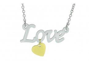 Řetízek s Love a srdcem GOLD  dárkově zabaleno