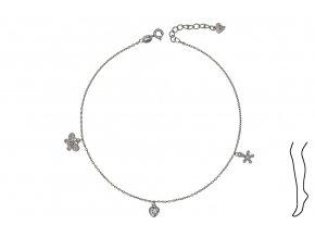 Řetízek na nohu - motýl, srdce, květ  Rhodiované stříbro Ag 925/1000, dárkově zabaleno