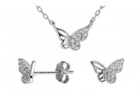 Stříbrná sada motýl v letu  Rhodiované stříbro Ag 925/1000, krabička zdarma