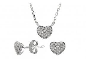 Stříbrná sada srdce s mikrokameny  Rhodiované stříbro Ag 925/1000, krabička zdarma