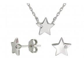Stříbrná sada hvězda s bílým kamínkem  Rhodiované stříbro 925/1000, dárkově zabaleno