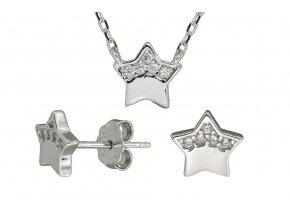 Stříbrná sada hvězda SSN09  Rhodiované stříbro 925/1000, dárkově zabaleno