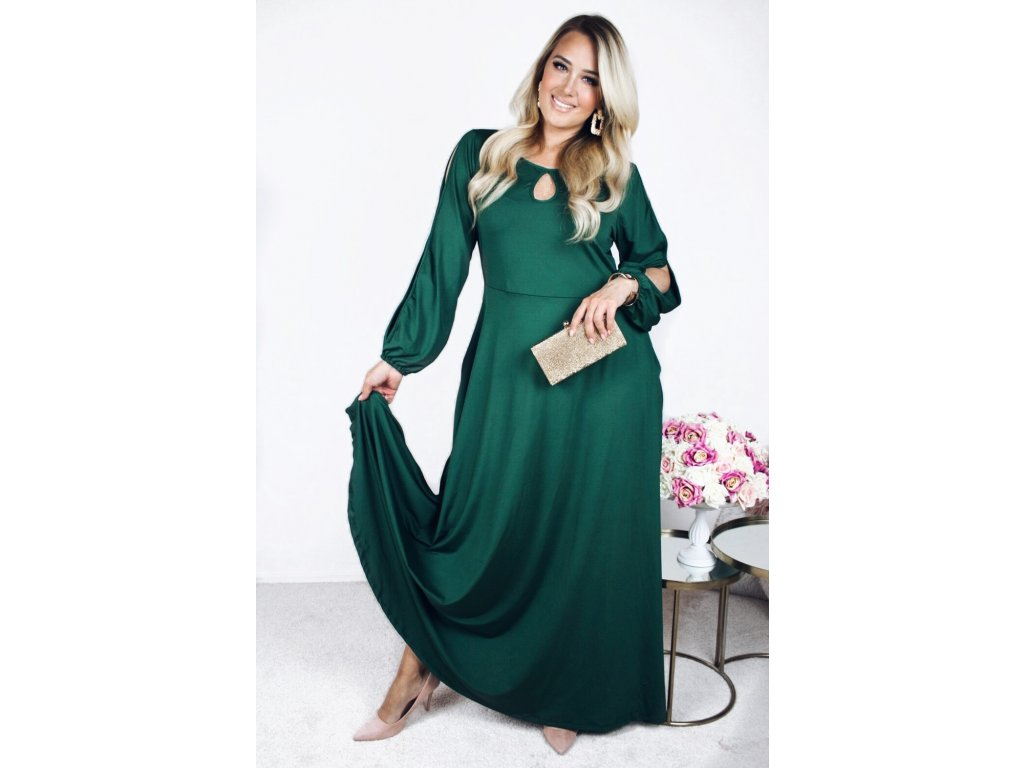 3764b402502a Dlouhé elegantní zelené šaty - ZAZZA.cz