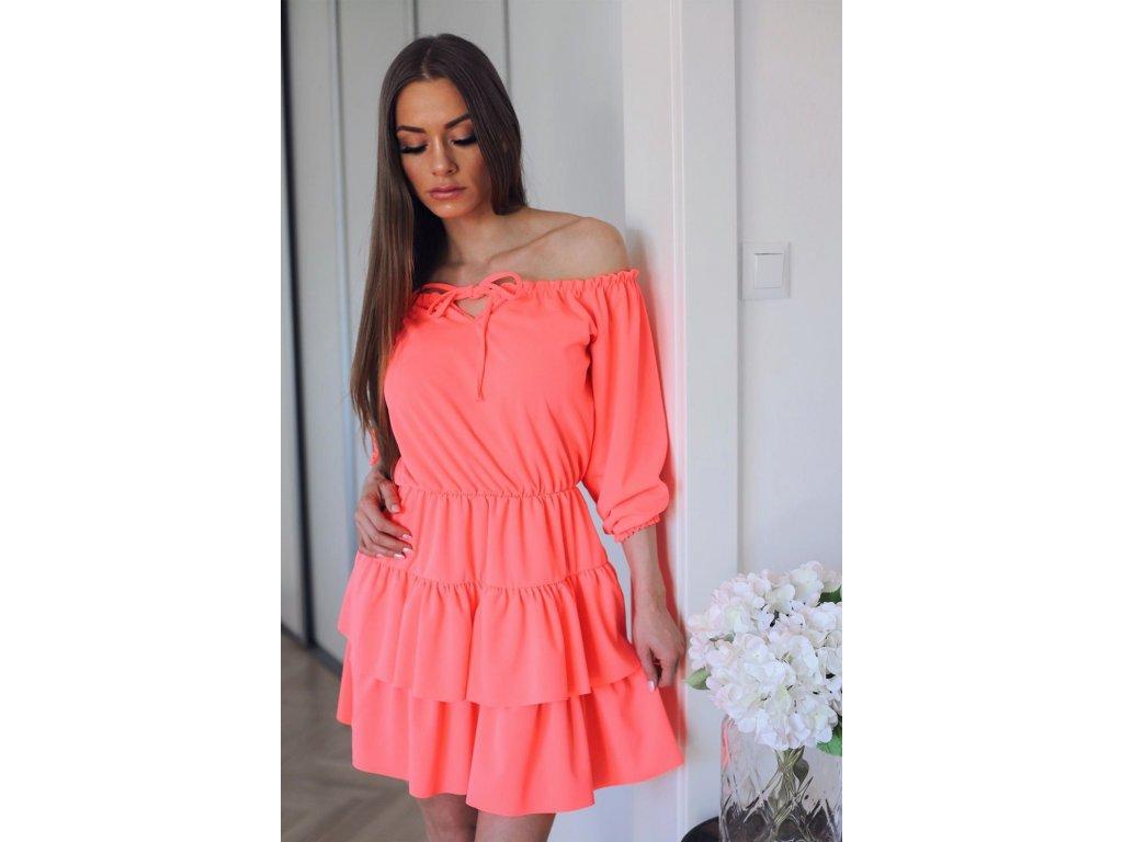 48337b3ef Krátké neonově-růžové šaty s odhalenými rameny - ZAZZA.cz