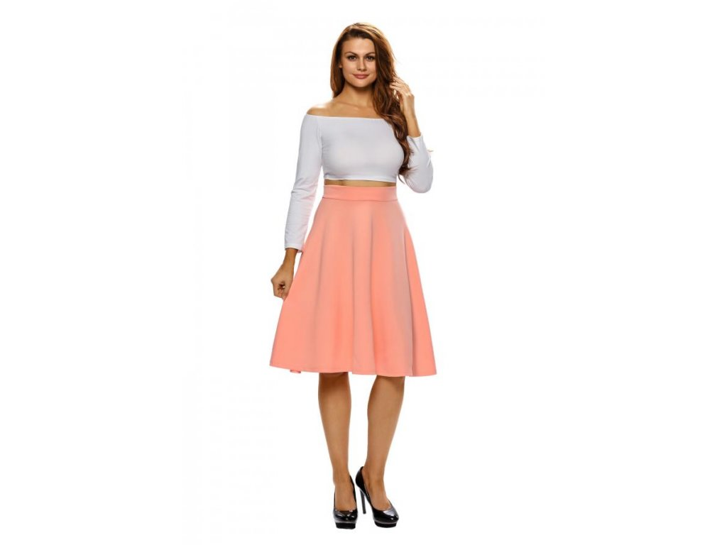 Broskvová midi sukně (Veľkosť S) 75df19e2bcf