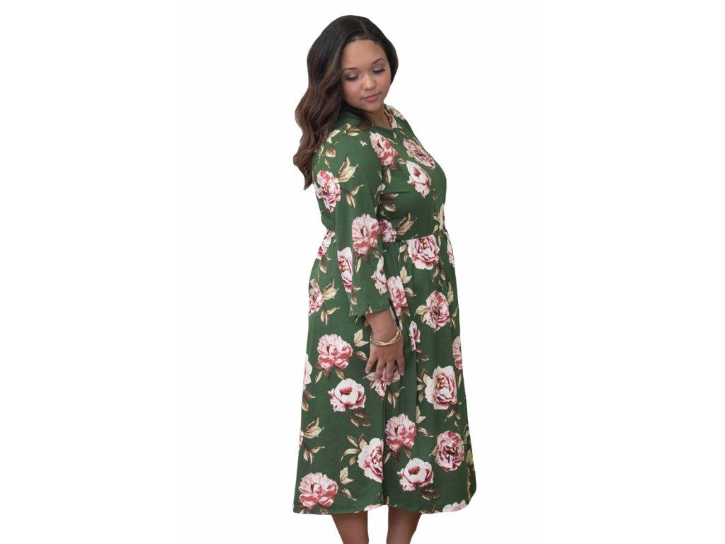 Zelené šaty pod kolena s květinovým vzorem - ZAZZA.cz d4e6e620619