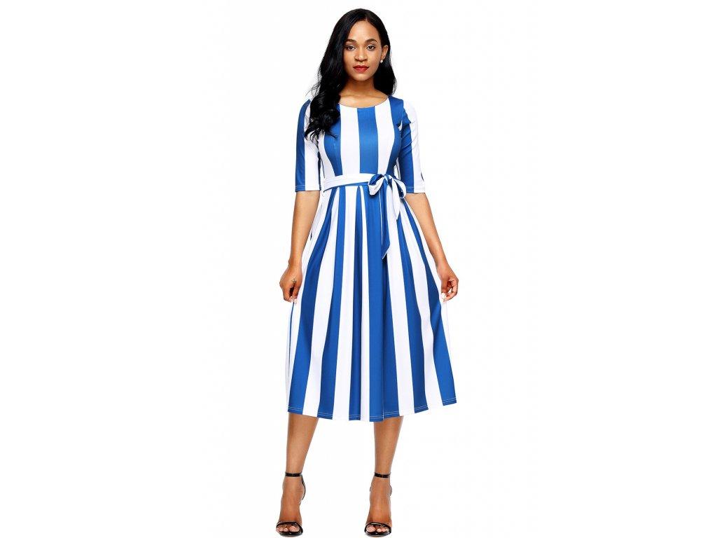Bílo-modré pruhované šaty pod kolena - ZAZZA.cz 7241305be0