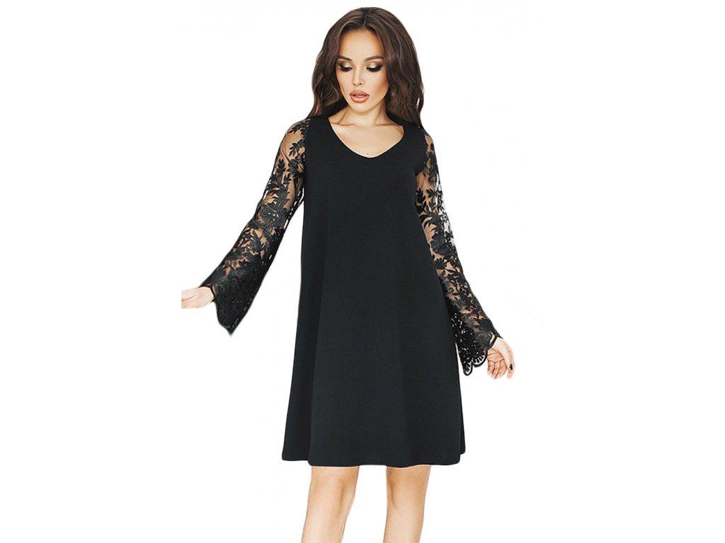 Černé volné šaty s krajkovými rukávy (Veľkosť XL) 94a112a772