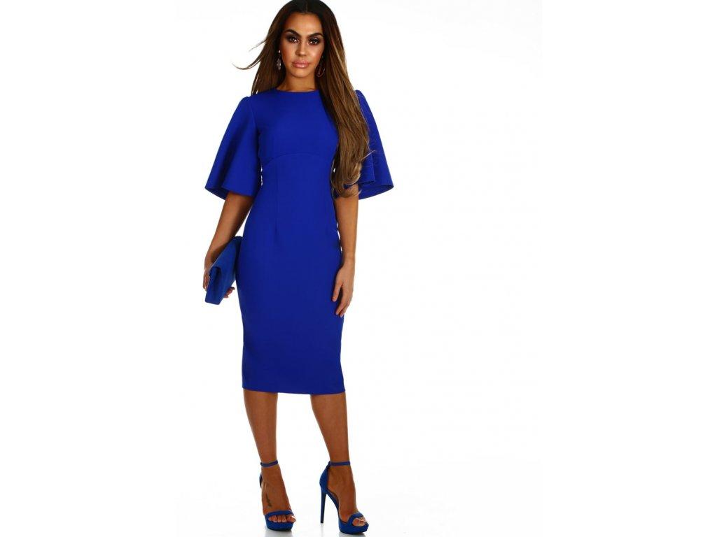 3b328fcc0328 Elegantní šaty pod kolena v královské modré - ZAZZA.cz
