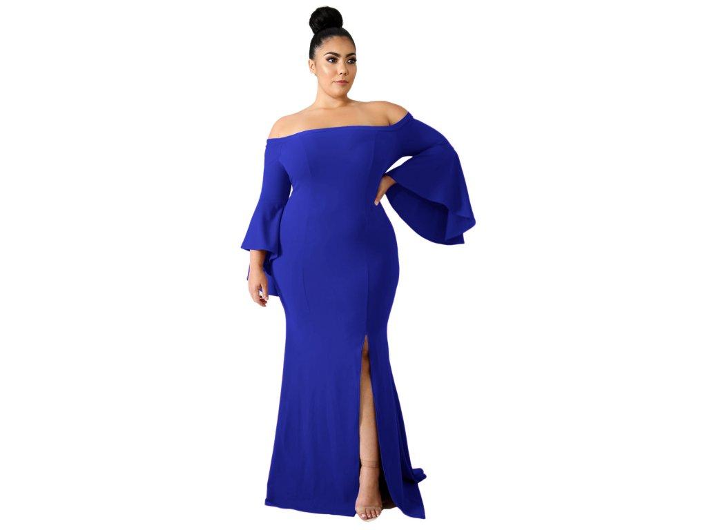 Dlouhé modré šaty s odhalenými rameny - ZAZZA.cz 9a2b4f3c339