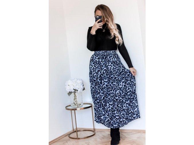 Šedo-modrá sukně s leopadrím vzorem