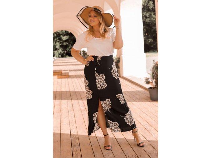 Černá sukně se vzorem šeříku (Veľkosť XXXL)