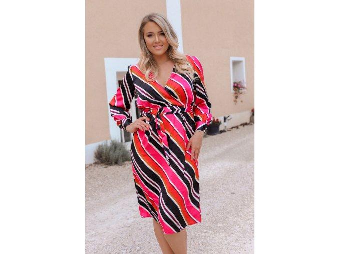 Barevné proužkované šaty (Veľkosť XL)